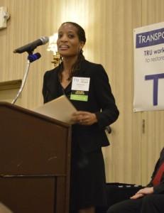 Deena Fox eloquently presenting at TRU's 2014 Awards dinner