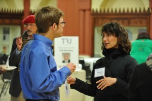 Awardees Joel Batterman and WSU's Jeri Stroupe shared ideas at TRU's 2014 fall meeting.