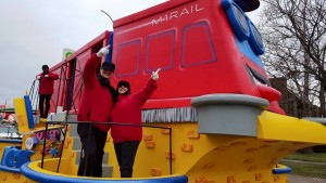 M-1 Rail celebrated to coming return of streetcar service to Detroit with a new float in the Thanksgiving Day Parade.